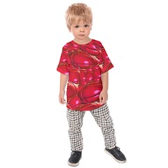 Red Abstract Cherry Balls Pattern Kids  Raglan Tee