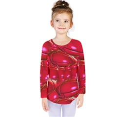 Red Abstract Cherry Balls Pattern Kids  Long Sleeve Tee