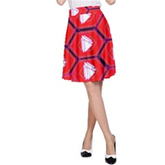 Red Bee Hive A Line Skirt