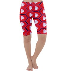 Red Bee Hive Cropped Leggings