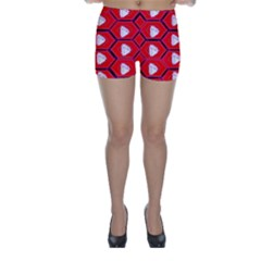 Red Bee Hive Skinny Shorts