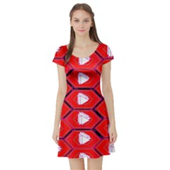 Red Bee Hive Short Sleeve Skater Dress