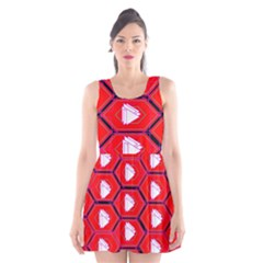 Red Bee Hive Scoop Neck Skater Dress
