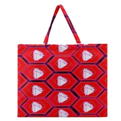 Red Bee Hive Zipper Large Tote Bag