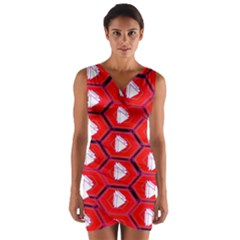Red Bee Hive Wrap Front Bodycon Dress