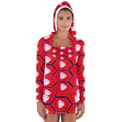 Red Bee Hive Women s Long Sleeve Hooded T Shirt