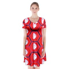 Red Bee Hive Short Sleeve V Neck Flare Dress