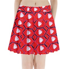 Red Bee Hive Pleated Mini Skirt