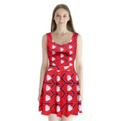 Red Bee Hive Split Back Mini Dress