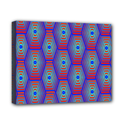 Red Blue Bee Hive Canvas 10  x 8