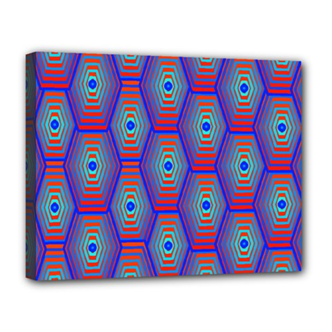 Red Blue Bee Hive Canvas 14  X 11