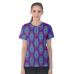 Red Blue Bee Hive Women s Cotton Tee