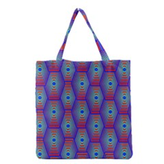 Red Blue Bee Hive Grocery Tote Bag