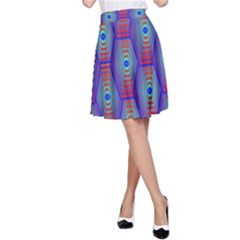 Red Blue Bee Hive A Line Skirt
