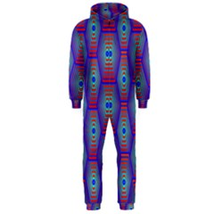 Red Blue Bee Hive Hooded Jumpsuit (men)