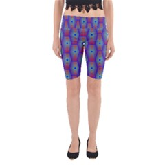 Red Blue Bee Hive Yoga Cropped Leggings
