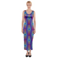 Red Blue Bee Hive Fitted Maxi Dress