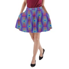 Red Blue Bee Hive A Line Pocket Skirt