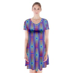 Red Blue Bee Hive Short Sleeve V-neck Flare Dress
