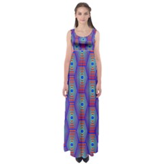 Red Blue Bee Hive Empire Waist Maxi Dress