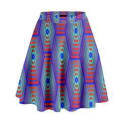 Red Blue Bee Hive High Waist Skirt