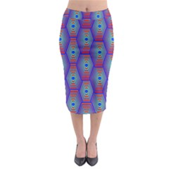 Red Blue Bee Hive Midi Pencil Skirt