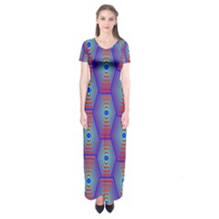 Red Blue Bee Hive Short Sleeve Maxi Dress