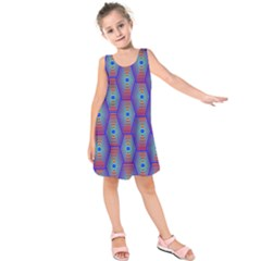 Red Blue Bee Hive Kids  Sleeveless Dress