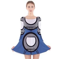 Rocket Ship App Icon Long Sleeve Velvet Skater Dress