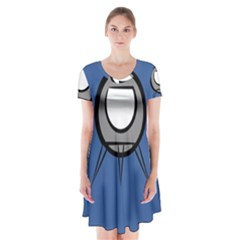 Rocket Ship App Icon Short Sleeve V Neck Flare Dress