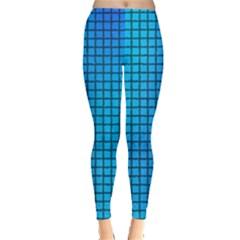 Seamless Blue Tiles Pattern Leggings