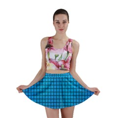 Seamless Blue Tiles Pattern Mini Skirt
