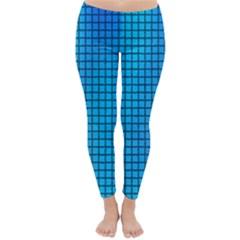 Seamless Blue Tiles Pattern Classic Winter Leggings