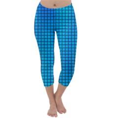 Seamless Blue Tiles Pattern Capri Winter Leggings