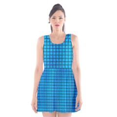 Seamless Blue Tiles Pattern Scoop Neck Skater Dress