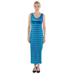 Seamless Blue Tiles Pattern Fitted Maxi Dress