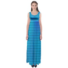 Seamless Blue Tiles Pattern Empire Waist Maxi Dress