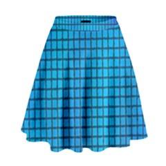 Seamless Blue Tiles Pattern High Waist Skirt