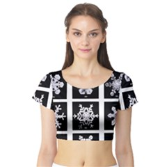 Snowflakes Exemplifies Emergence In A Physical System Short Sleeve Crop Top (tight Fit)