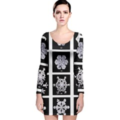 Snowflakes Exemplifies Emergence In A Physical System Long Sleeve Velvet Bodycon Dress