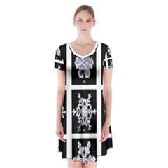 Snowflakes Exemplifies Emergence In A Physical System Short Sleeve V Neck Flare Dress