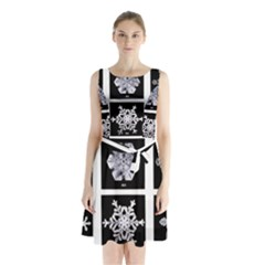 Snowflakes Exemplifies Emergence In A Physical System Sleeveless Chiffon Waist Tie Dress