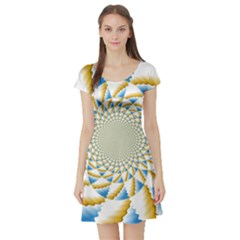 Tech Neon And Glow Backgrounds Psychedelic Art Psychedelic Art Short Sleeve Skater Dress