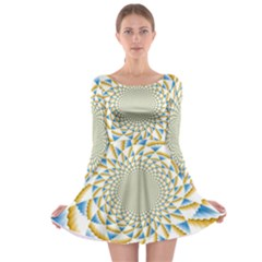 Tech Neon And Glow Backgrounds Psychedelic Art Psychedelic Art Long Sleeve Skater Dress