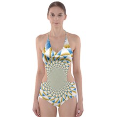 Tech Neon And Glow Backgrounds Psychedelic Art Psychedelic Art Cut-Out One Piece Swimsuit