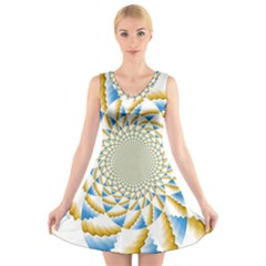 Tech Neon And Glow Backgrounds Psychedelic Art Psychedelic Art V Neck Sleeveless Skater Dress
