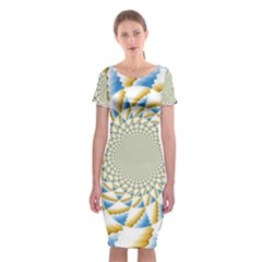 Tech Neon And Glow Backgrounds Psychedelic Art Psychedelic Art Classic Short Sleeve Midi Dress