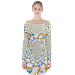Tech Neon And Glow Backgrounds Psychedelic Art Psychedelic Art Long Sleeve Off Shoulder Dress