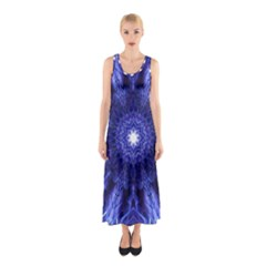 Tech Neon And Glow Backgrounds Psychedelic Art Sleeveless Maxi Dress