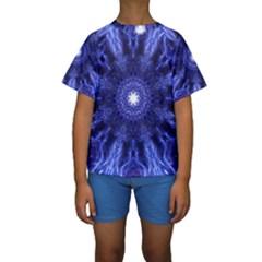 Tech Neon And Glow Backgrounds Psychedelic Art Kids  Short Sleeve Swimwear